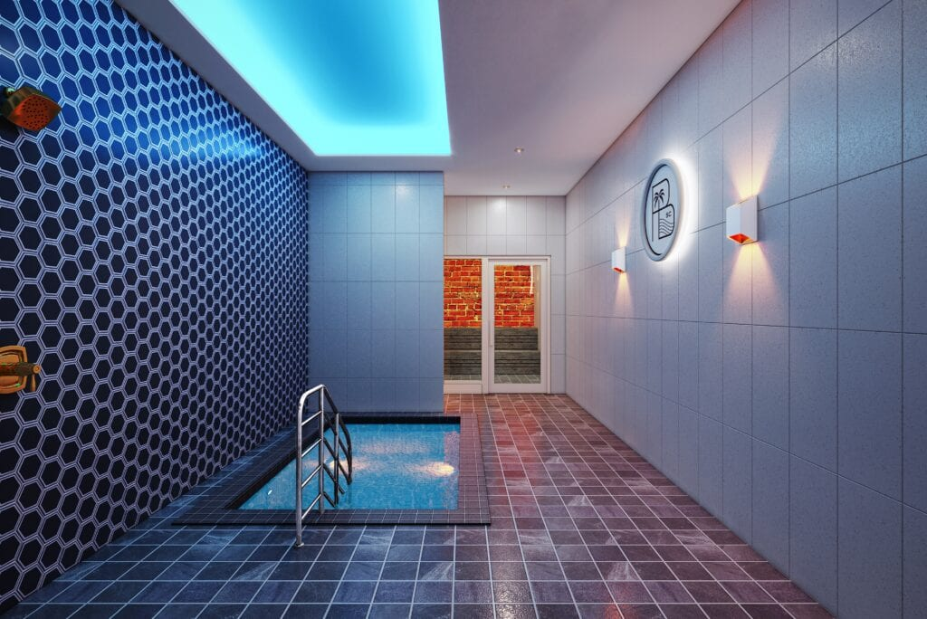 Cold Plunge at Recovery Area for Palm Beach Sports Club fitness center beautifully designed by ODSI.