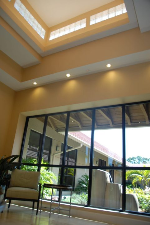 Ceiling view at country club fitness center and Spa
